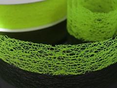 Zelená limetková  stuha dekorační pavučina 38mm jablíčková,  á 1m