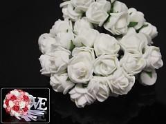 BÍLÉ pěnové růže 25mm s tvarovacím stonkem