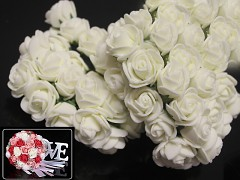 SMETANOVÉ pěnové růže 25mm s tvarovacím stonkem