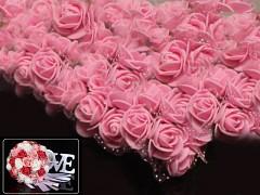 RŮŽOVÉ pěnové růže 25mm s tvarovacím stonkem