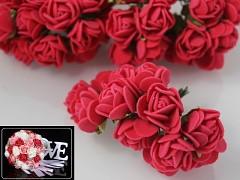 ČERVENÉ  pěnové růže 25mm s tvarovacím stonkem