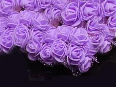 SVĚTLE FIALOVÉ  pěnové růže 25mm s tvarovacím stonkem