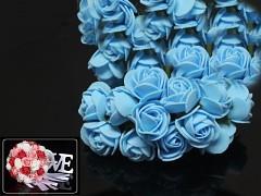 SVĚTLE MODRÉ  pěnové růže 25mm s tvarovacím stonkem
