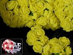 ŽLUTÉ pěnové růže 25mm s tvarovacím stonkem