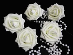 BÍLÁ pěnová růže 80mm s tvarovacím stonkem