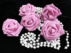 RŮŽOVÁ pěnová růže 80mm s tvarovacím stonkem