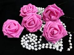 FUCHSIOVÁ pěnová růže 80mm s tvarovacím stonkem