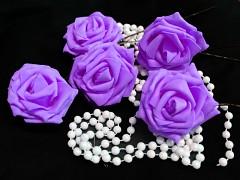 LILA pěnová růže 80mm s tvarovacím stonkem