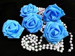 SVĚTLE MODRÁ pěnová růže 80mm s tvarovacím stonkem