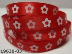 Stuha saténová 10mm KVĚTY na červeném, svazek 3m