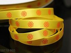 Stuha saténová 10mm KVĚTY na žlutém, svazek 3m
