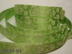 Stuha saténová 10mm KVĚTY na zeleném, svazek 3m