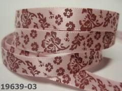 Stuha saténová 10mm KVĚTY na sv.růžovém, svazek 3m