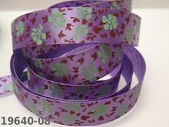 Stuha saténová 16mm KVĚTY / fialové, svazek 3m