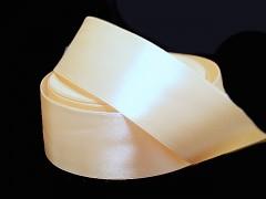 Smetanová stuha atlasová 50mm široká stuha šerpa 5cm smetanová ivory