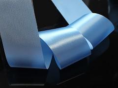 Modrá světle stuha atlasová 50mm široká stuha šerpa 5cm světle modrá