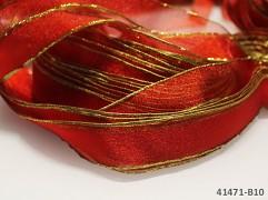 Červená stuha organzová se zlatým lemem červená / zlatá, á 1m