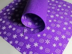 FIALOVÁ plst vánoční s vločkama 30x30cm