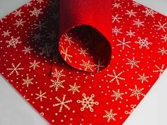 ČERVENÁ plst vánoční s vločkama 30x30cm