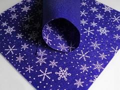 MODRÁ plst vánoční s vločkama 30x30cm