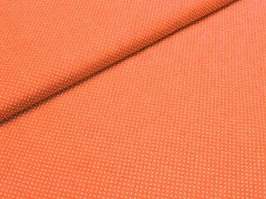 Oranžová látka s puntíky mini puntíkované plátno ATEST DĚTI,  á 1m