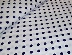 Bílá látka s tmavě modrými puntíky 06 puntíkované plátno ATEST DĚTI,  á 1m