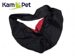 Vak na psa - na nošení psa černý/uvnitř červený mini puntík