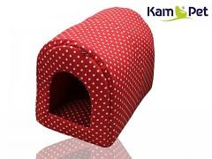 Puntíkovaná červená bouda kulatá pro pejska či kočku KamPet Classic