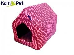 Červená bouda srdíčka sedlová pro pejska či kočku KamPet Classic