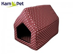 Hnědá puntíkovaná bouda sedlová pro pejska či kočku KamPet Classic