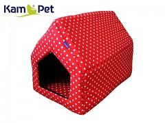 Červená puntíkovaná bouda sedlová pro pejska či kočku KamPet Classic