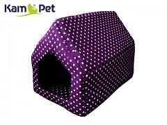 Fialová puntíkovaná bouda sedlová pro pejska či kočku KamPet Classic