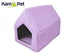 Lila puntíkovaná bouda sedlová pro pejska či kočku KamPet Classic