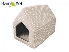 Béžová puntíkovaná bouda sedlová pro pejska či kočku KamPet Classic