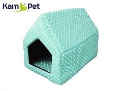 Mintová puntíkovaná bouda sedlová pro pejska či kočku KamPet Classic