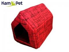 Červená žíhaná bouda sedlová pro pejska či kočku KamPet Classic