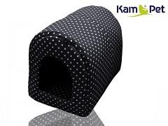 Puntíkovaná černá bouda kulatá pro pejska či kočku KamPet Classic