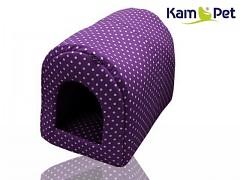 Puntíkovaná fialová bouda kulatá pro pejska či kočku KamPet Classic