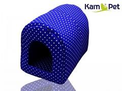 Puntíkovaná nivea modrá bouda kulatá pro pejska či kočku KamPet Classic