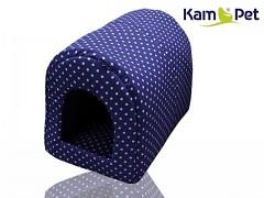 Puntíkovaná tmavě modrá bouda kulatá pro pejska či kočku KamPet Classic