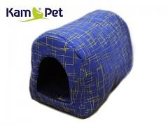 Modrá žíhaná bouda kulatá pro pejska či kočku KamPet Classic