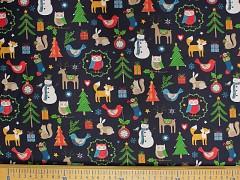 ČERNÁ vánoční látka stromečky, sněhuláky, zvířátka aj. LIMITOVANÁ EDICE,  á 1m