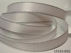 BÍLÁ stuha atlasová 10mm stříbrný lem, á 1m