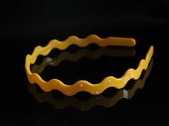 ŽLUTÁ čelenka do vlasů hladká 8mm vlnka/tečky