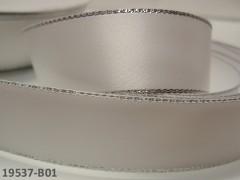 BÍLÁ stuha atlasová 22mm stříbrný lem, á 1m