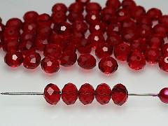 Swarovski korálky 5040 rondelky Red Siam tmavě červené, bal. 5ks
