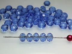MODRÉ SVĚTLE korálky Swarovski  5040 rondelky Blue Saphire, bal. 5ks