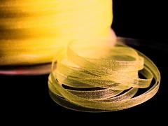 Žlutá tmavě stuha organzová 3mm organza stužka šifónová tmavě žlutá