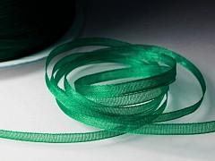 Zelená stuha organzová 3mm organza stužka šifónová zelená tráva