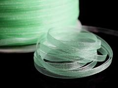 Zelená světle stuha organzová 3mm organza stužka šifónová světle zelená